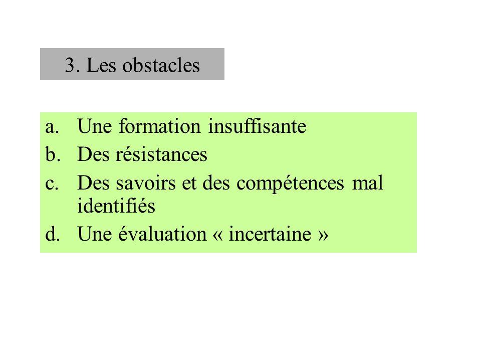 3. Les obstacles a.Une formation insuffisante b.Des résistances c.Des savoirs et des compétences mal identifiés d.Une évaluation « incertaine »