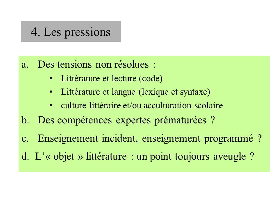 a.Des tensions non résolues : Littérature et lecture (code) Littérature et langue (lexique et syntaxe) culture littéraire et/ou acculturation scolaire