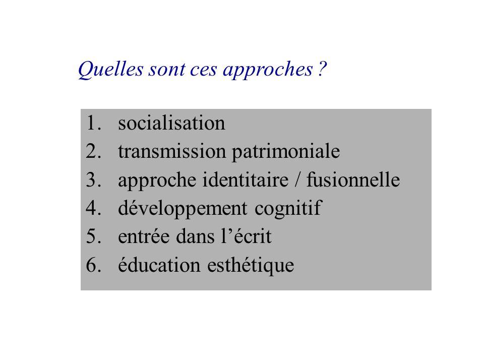 1.socialisation 2.transmission patrimoniale 3.approche identitaire / fusionnelle 4.développement cognitif 5.entrée dans lécrit 6.éducation esthétique