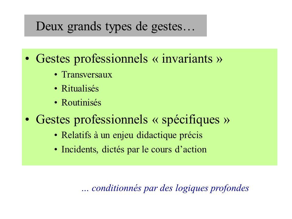 Deux grands types de gestes… Gestes professionnels « invariants » Transversaux Ritualisés Routinisés Gestes professionnels « spécifiques » Relatifs à