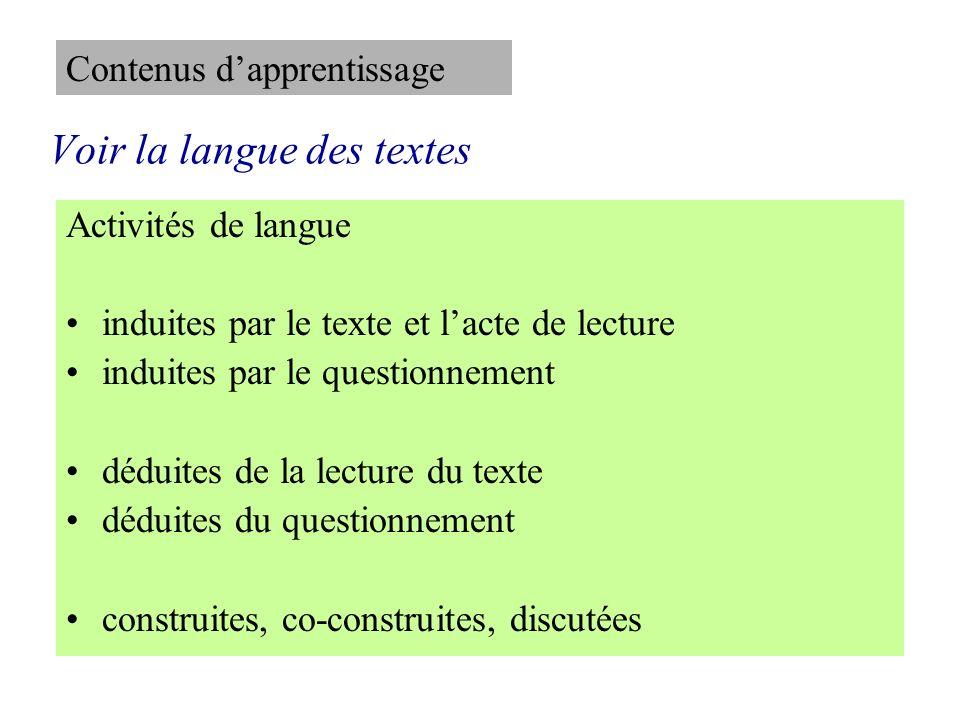 Voir la langue des textes Activités de langue induites par le texte et lacte de lecture induites par le questionnement déduites de la lecture du texte