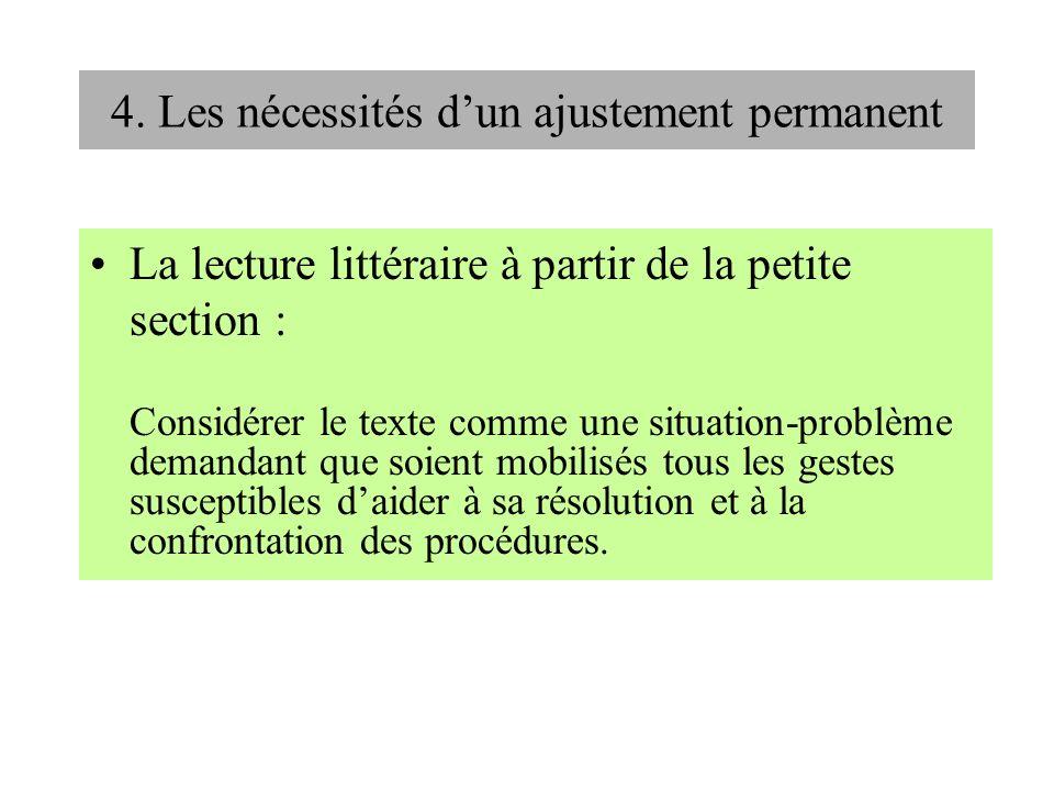4. Les nécessités dun ajustement permanent La lecture littéraire à partir de la petite section : Considérer le texte comme une situation-problème dema