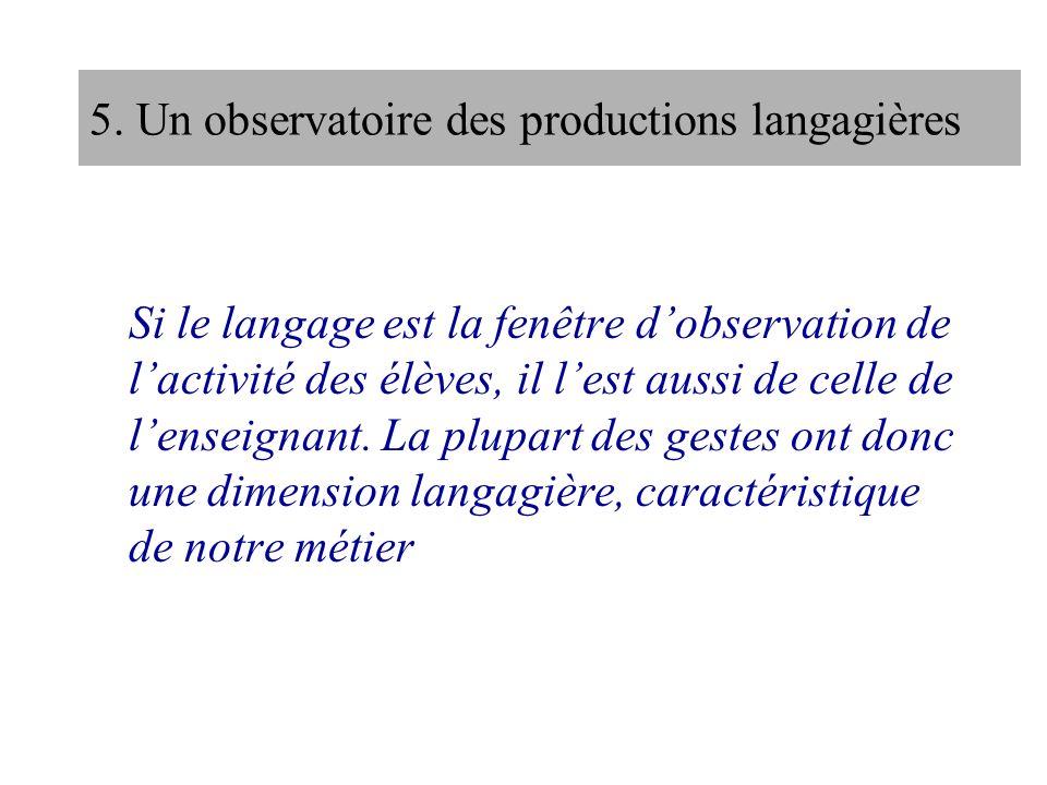 5. Un observatoire des productions langagières Si le langage est la fenêtre dobservation de lactivité des élèves, il lest aussi de celle de lenseignan