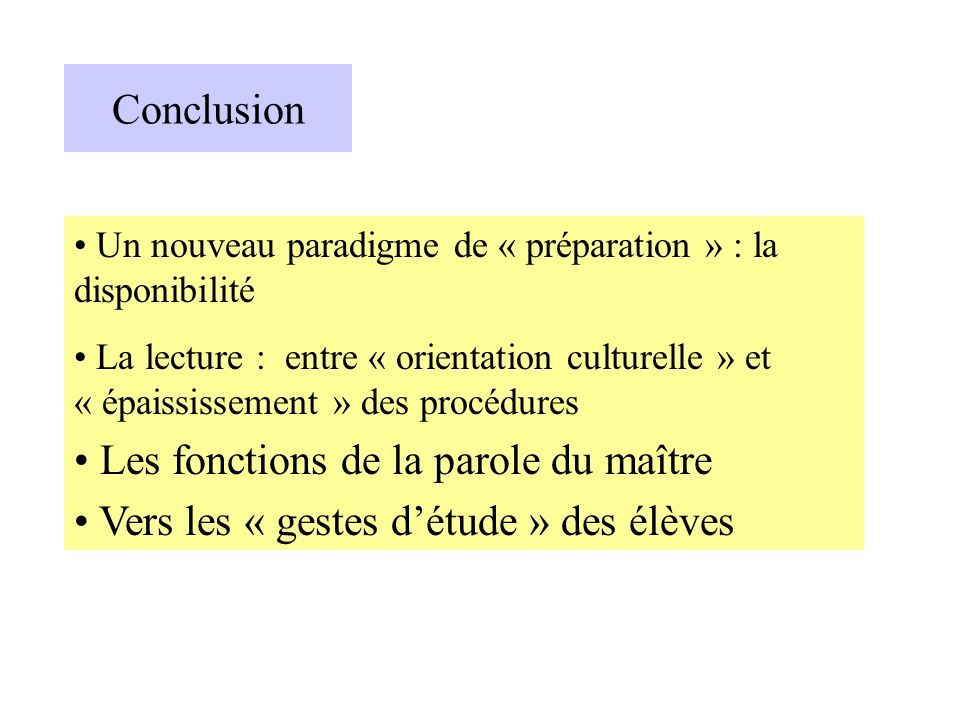 Un nouveau paradigme de « préparation » : la disponibilité La lecture : entre « orientation culturelle » et « épaississement » des procédures Les fonc