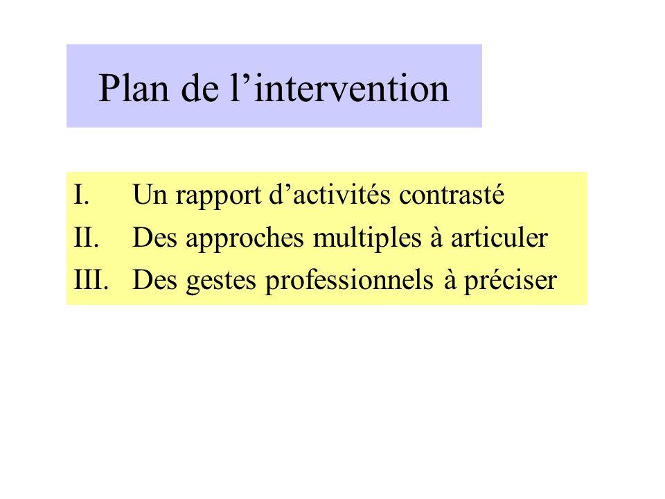 Plan de lintervention I.Un rapport dactivités contrasté II.Des approches multiples à articuler III.Des gestes professionnels à préciser