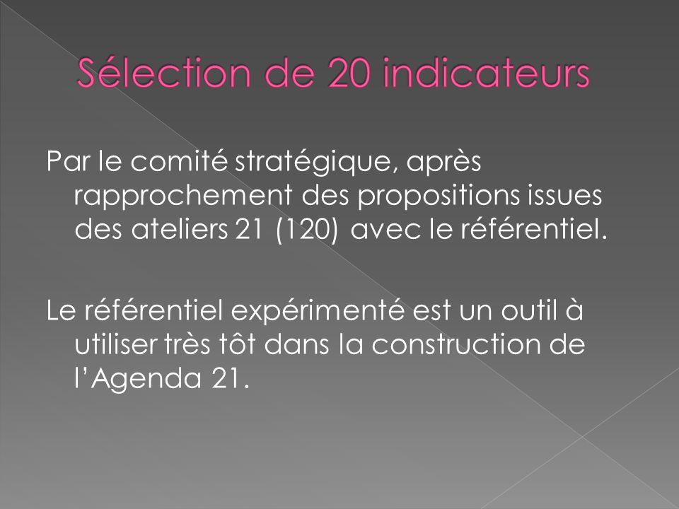 Par le comité stratégique, après rapprochement des propositions issues des ateliers 21 (120) avec le référentiel. Le référentiel expérimenté est un ou