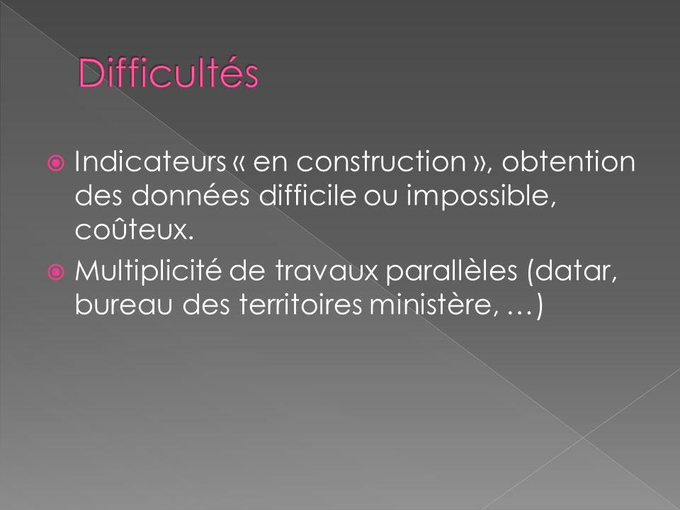 Indicateurs « en construction », obtention des données difficile ou impossible, coûteux. Multiplicité de travaux parallèles (datar, bureau des territo