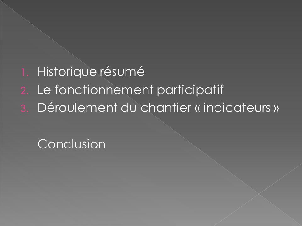 1. Historique résumé 2. Le fonctionnement participatif 3. Déroulement du chantier « indicateurs » Conclusion