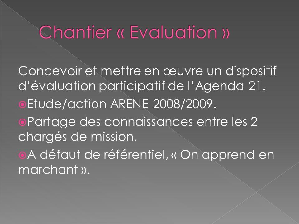Concevoir et mettre en œuvre un dispositif dévaluation participatif de lAgenda 21. Etude/action ARENE 2008/2009. Partage des connaissances entre les 2