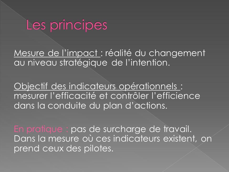Mesure de limpact : réalité du changement au niveau stratégique de lintention. Objectif des indicateurs opérationnels : mesurer lefficacité et contrôl