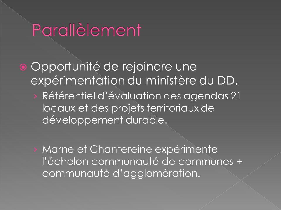 Opportunité de rejoindre une expérimentation du ministère du DD. Référentiel dévaluation des agendas 21 locaux et des projets territoriaux de développ