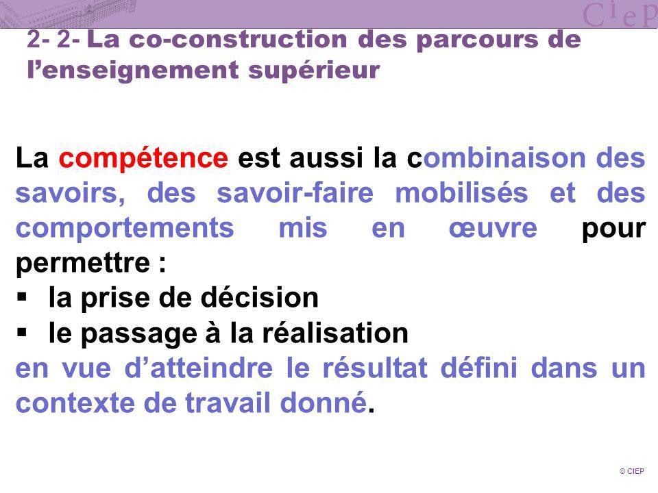 © CIEP 2- 2- La co-construction des parcours de lenseignement supérieur La compétence est aussi la combinaison des savoirs, des savoir-faire mobilisés