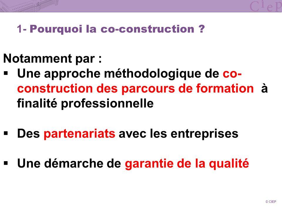 © CIEP 2- La co-construction des parcours de lenseignement supérieur La co-construction constitue un levier important damélioration de lemployabilité des diplômés.