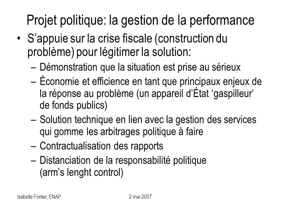Isabelle Fortier, ENAP2 mai 2007 Projet politique: la gestion de la performance Sappuie sur la crise fiscale (construction du problème) pour légitimer