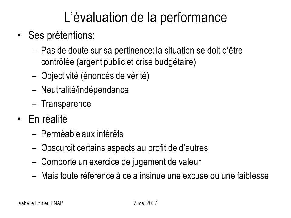 Isabelle Fortier, ENAP2 mai 2007 Lévaluation de la performance Ses prétentions: –Pas de doute sur sa pertinence: la situation se doit dêtre contrôlée