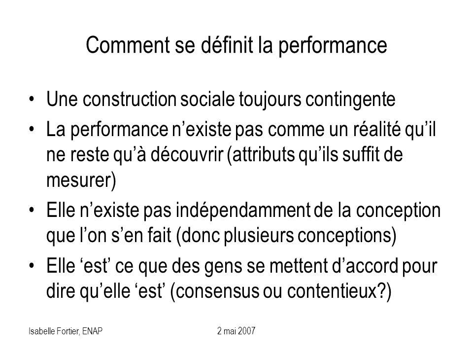 Isabelle Fortier, ENAP2 mai 2007 Comment se définit la performance Une construction sociale toujours contingente La performance nexiste pas comme un r