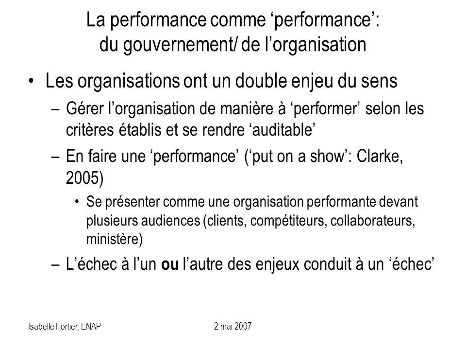 Isabelle Fortier, ENAP2 mai 2007 La performance comme performance: du gouvernement/ de lorganisation Les organisations ont un double enjeu du sens –Gé
