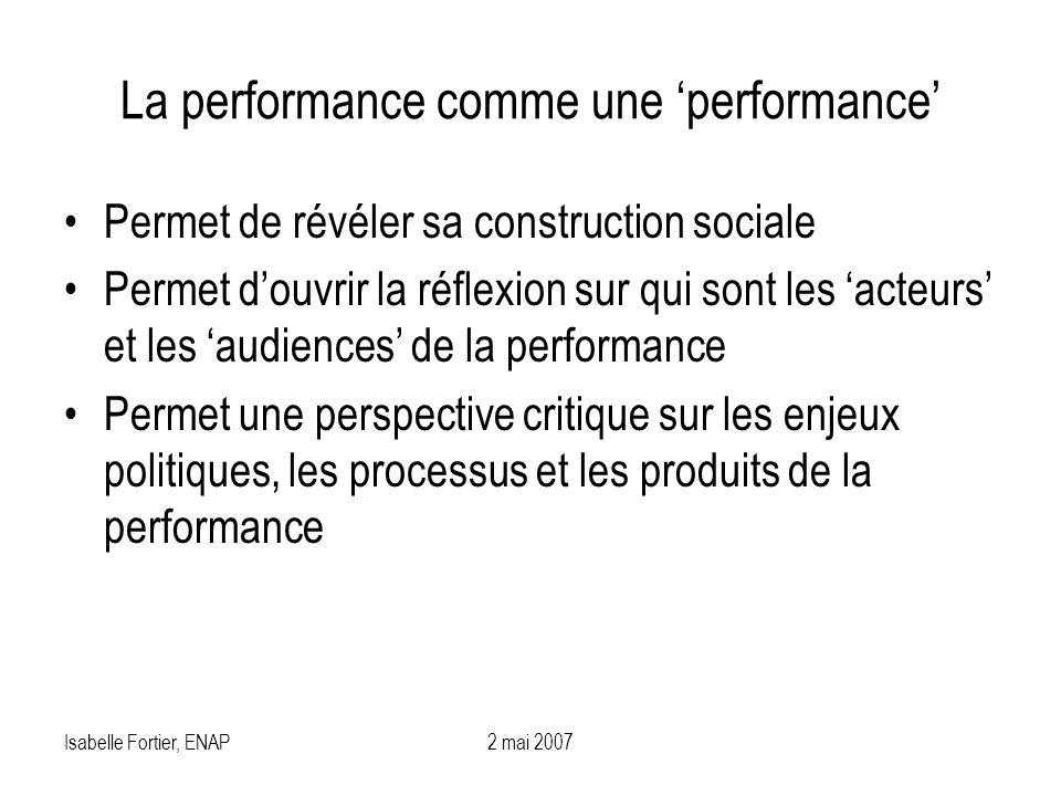 Isabelle Fortier, ENAP2 mai 2007 La performance comme une performance Permet de révéler sa construction sociale Permet douvrir la réflexion sur qui so