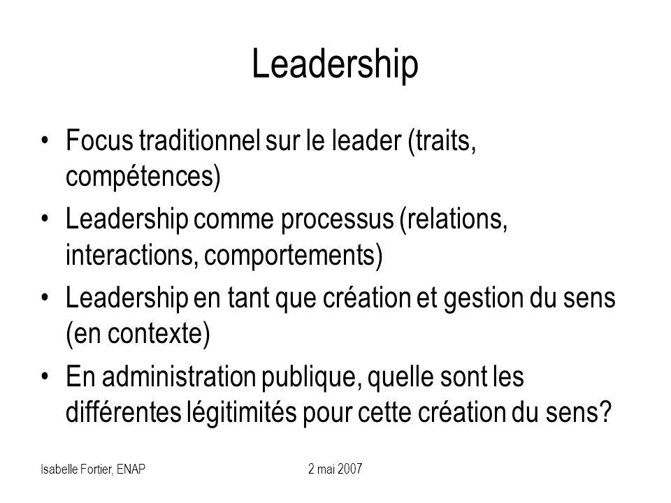 Isabelle Fortier, ENAP2 mai 2007 Leadership Focus traditionnel sur le leader (traits, compétences) Leadership comme processus (relations, interactions