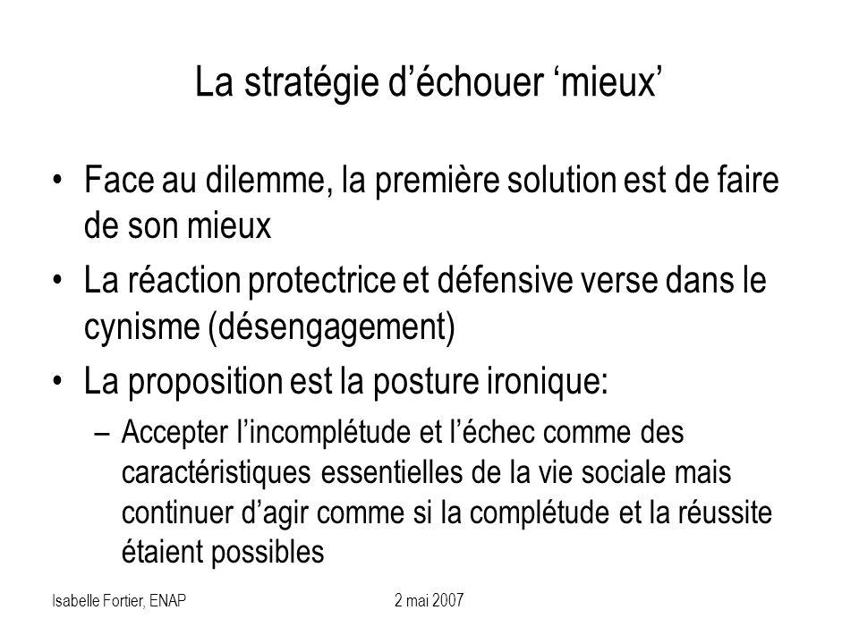 Isabelle Fortier, ENAP2 mai 2007 La stratégie déchouer mieux Face au dilemme, la première solution est de faire de son mieux La réaction protectrice e