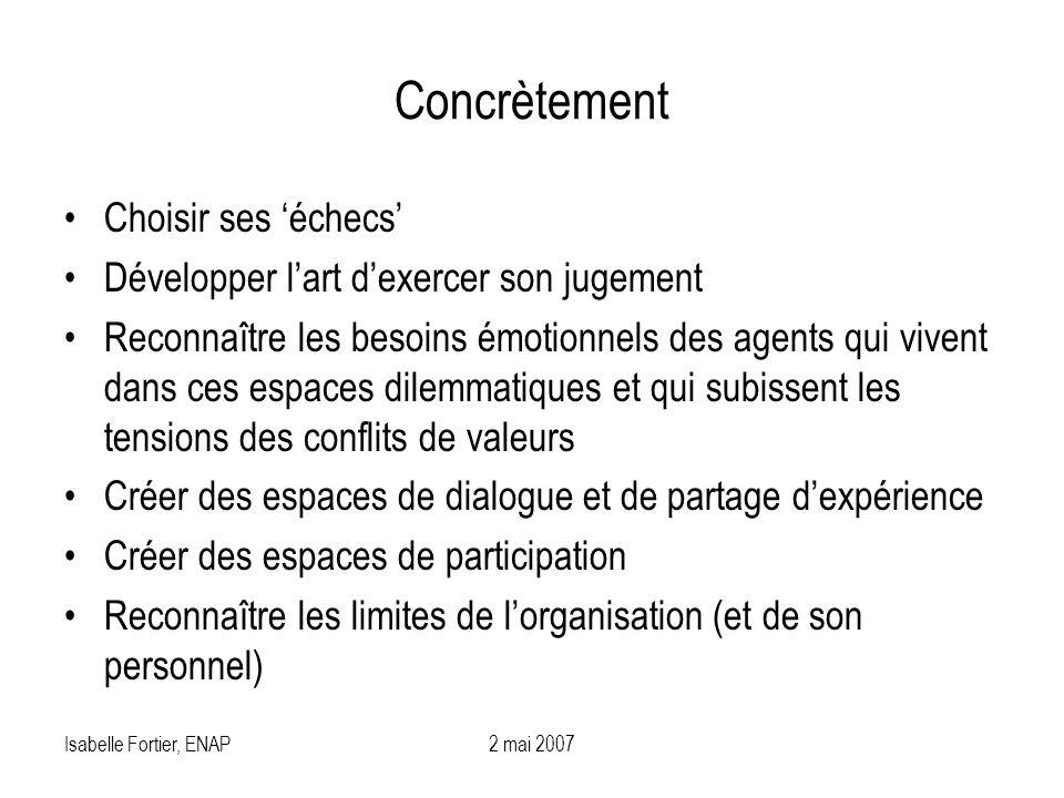 Isabelle Fortier, ENAP2 mai 2007 Concrètement Choisir ses échecs Développer lart dexercer son jugement Reconnaître les besoins émotionnels des agents