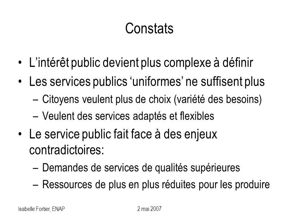 Isabelle Fortier, ENAP2 mai 2007 Constats Lintérêt public devient plus complexe à définir Les services publics uniformes ne suffisent plus –Citoyens v