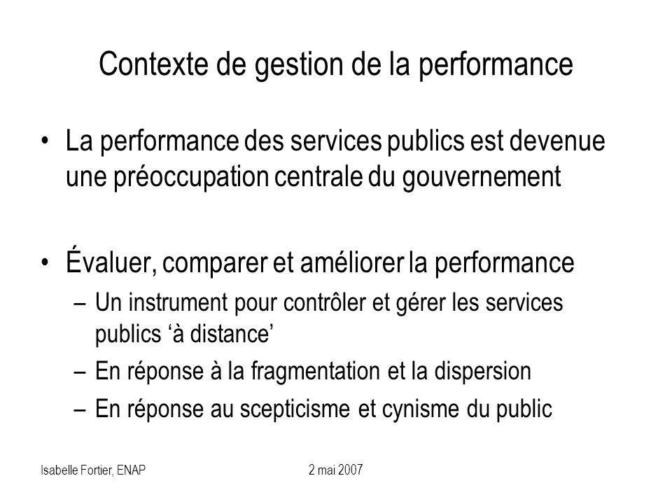 Isabelle Fortier, ENAP2 mai 2007 Contexte de gestion de la performance La performance des services publics est devenue une préoccupation centrale du g