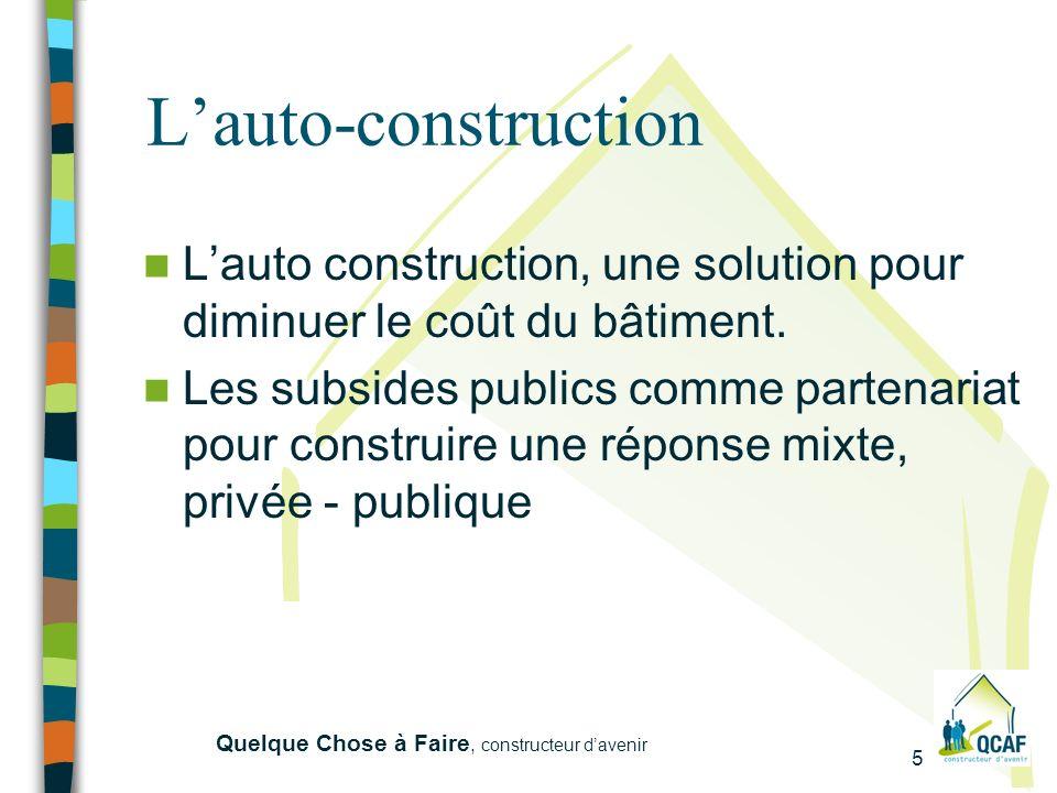 5 Quelque Chose à Faire, constructeur davenir Lauto-construction Lauto construction, une solution pour diminuer le coût du bâtiment.