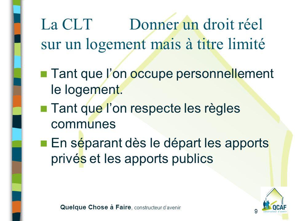9 Quelque Chose à Faire, constructeur davenir La CLT Donner un droit réel sur un logement mais à titre limité Tant que lon occupe personnellement le logement.