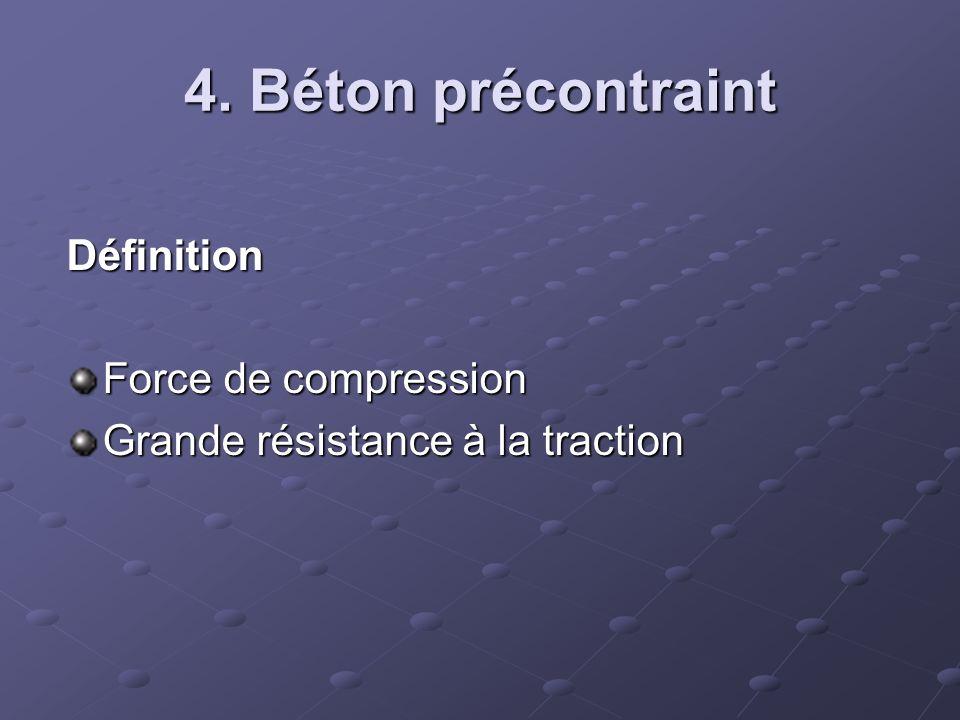4. Béton précontraint Définition Force de compression Grande résistance à la traction