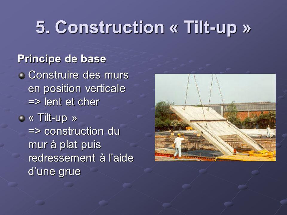 5. Construction « Tilt-up » Principe de base Construire des murs en position verticale => lent et cher « Tilt-up » => construction du mur à plat puis