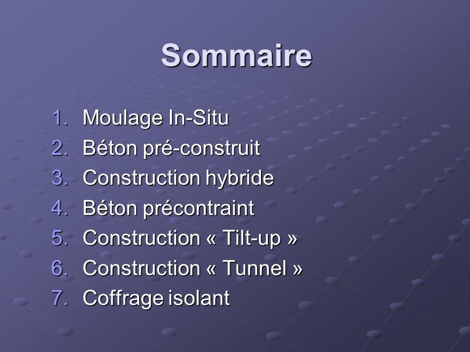 Sommaire 1.Moulage In-Situ 2.Béton pré-construit 3.Construction hybride 4.Béton précontraint 5.Construction « Tilt-up » 6.Construction « Tunnel » 7.Co