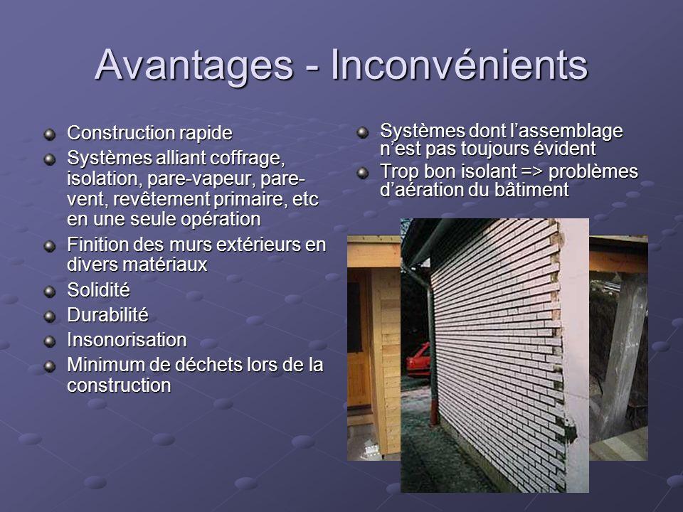 Avantages - Inconvénients Construction rapide Systèmes alliant coffrage, isolation, pare-vapeur, pare- vent, revêtement primaire, etc en une seule opé