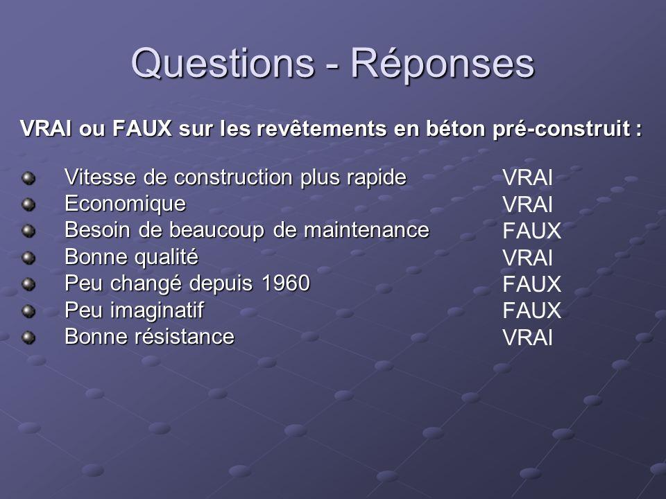 Questions - Réponses VRAI ou FAUX sur les revêtements en béton pré-construit : Vitesse de construction plus rapide Economique Besoin de beaucoup de ma