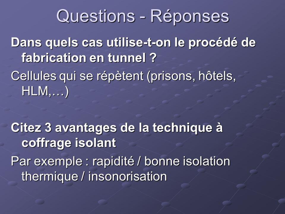 Questions - Réponses Dans quels cas utilise-t-on le procédé de fabrication en tunnel ? Cellules qui se répètent (prisons, hôtels, HLM,…) Citez 3 avant