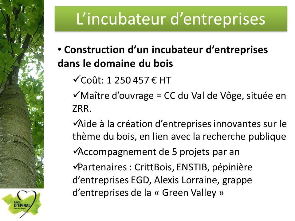 Lincubateur dentreprises Construction dun incubateur dentreprises dans le domaine du bois Coût: 1 250 457 HT Maître douvrage = CC du Val de Vôge, situ