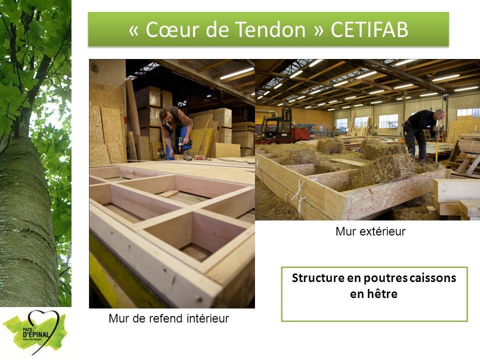 « Cœur de Tendon » CETIFAB Structure en poutres caissons en hêtre Mur de refend intérieur Mur extérieur