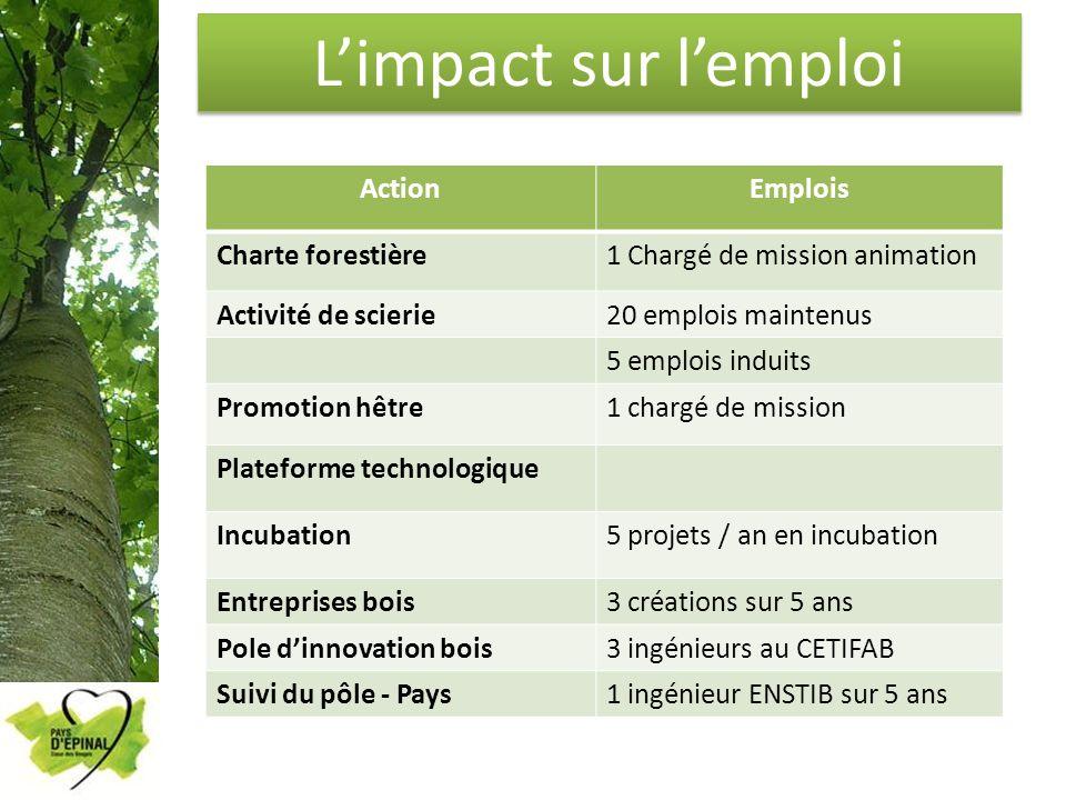 Limpact sur lemploi ActionEmplois Charte forestière1 Chargé de mission animation Activité de scierie20 emplois maintenus 5 emplois induits Promotion h