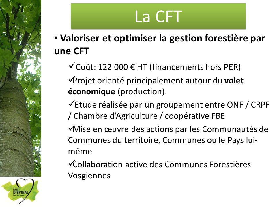 La CFT Valoriser et optimiser la gestion forestière par une CFT Coût: 122 000 HT (financements hors PER) Projet orienté principalement autour du volet