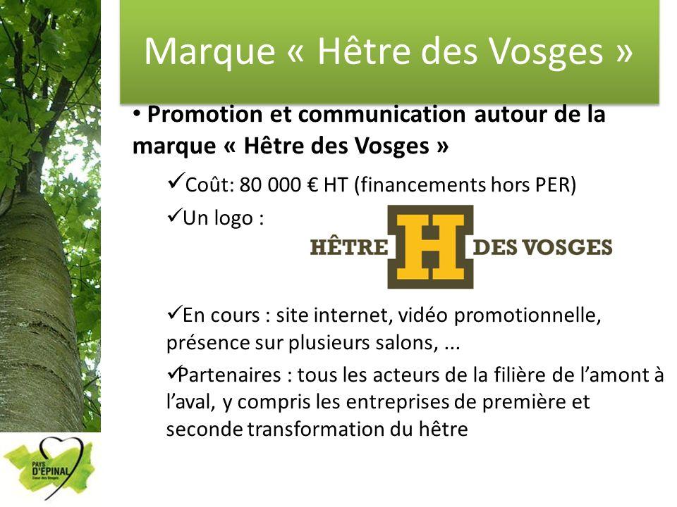 Marque « Hêtre des Vosges » Promotion et communication autour de la marque « Hêtre des Vosges » Coût: 80 000 HT (financements hors PER) Un logo : En c
