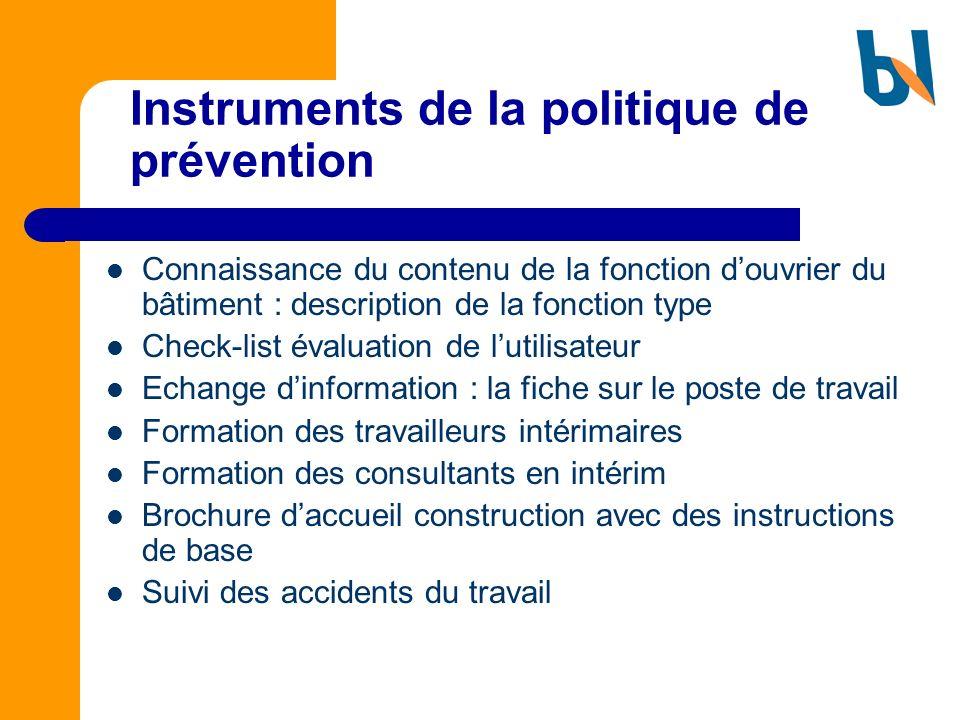 Instruments de la politique de prévention Connaissance du contenu de la fonction douvrier du bâtiment : description de la fonction type Check-list éva