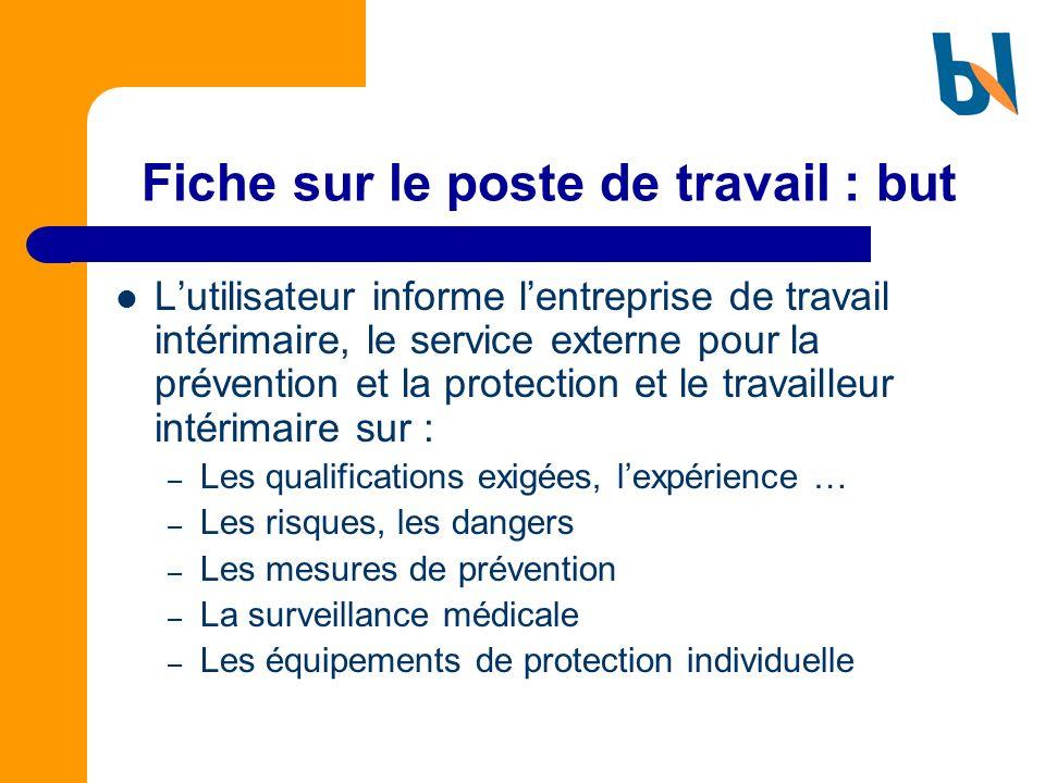 Fiche sur le poste de travail : but Lutilisateur informe lentreprise de travail intérimaire, le service externe pour la prévention et la protection et