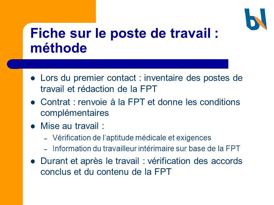 Fiche sur le poste de travail : méthode Lors du premier contact : inventaire des postes de travail et rédaction de la FPT Contrat : renvoie à la FPT e
