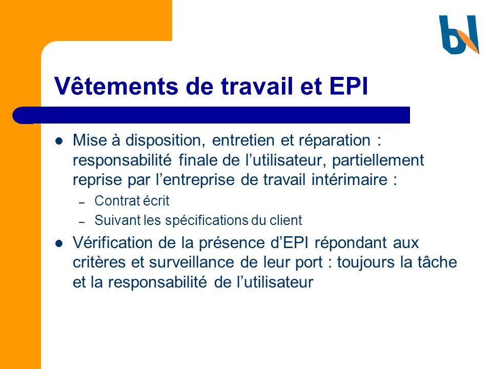 Vêtements de travail et EPI Mise à disposition, entretien et réparation : responsabilité finale de lutilisateur, partiellement reprise par lentreprise