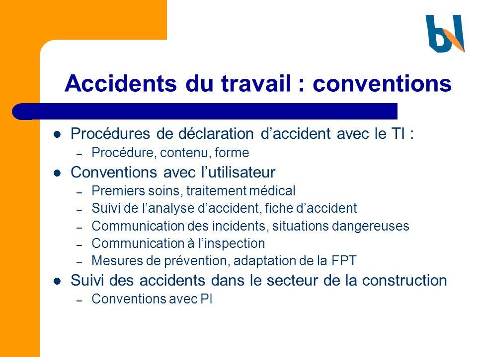 Accidents du travail : conventions Procédures de déclaration daccident avec le TI : – Procédure, contenu, forme Conventions avec lutilisateur – Premie