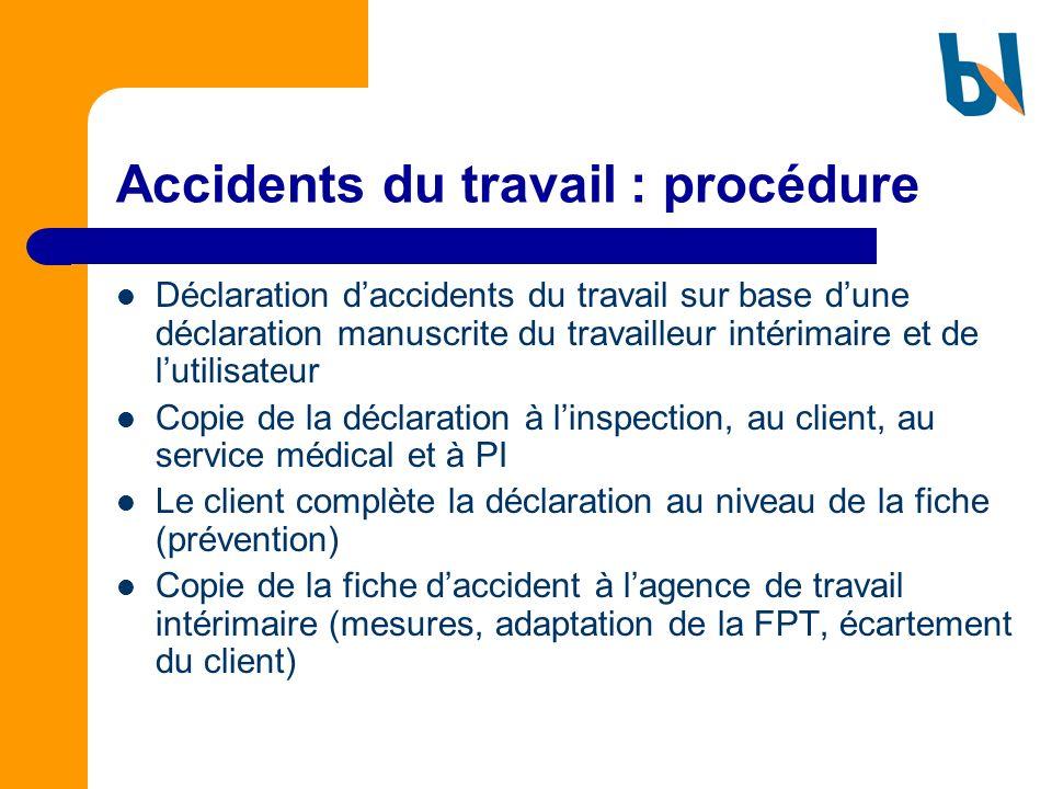 Accidents du travail : procédure Déclaration daccidents du travail sur base dune déclaration manuscrite du travailleur intérimaire et de lutilisateur