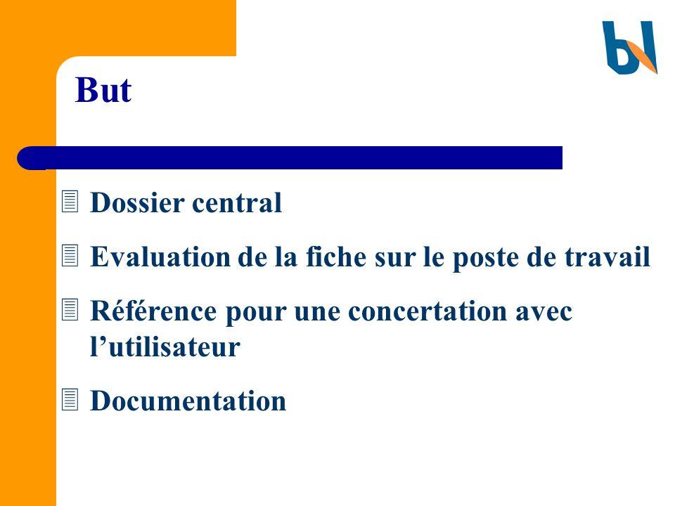 But Dossier central Evaluation de la fiche sur le poste de travail Référence pour une concertation avec lutilisateur Documentation