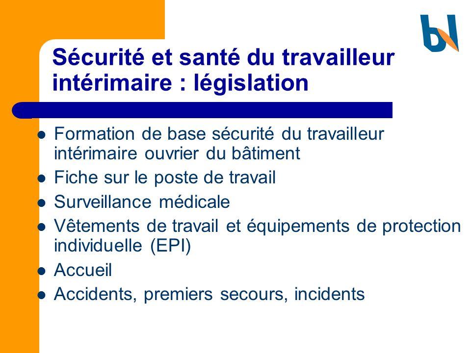 Sécurité et santé du travailleur intérimaire : législation Formation de base sécurité du travailleur intérimaire ouvrier du bâtiment Fiche sur le post