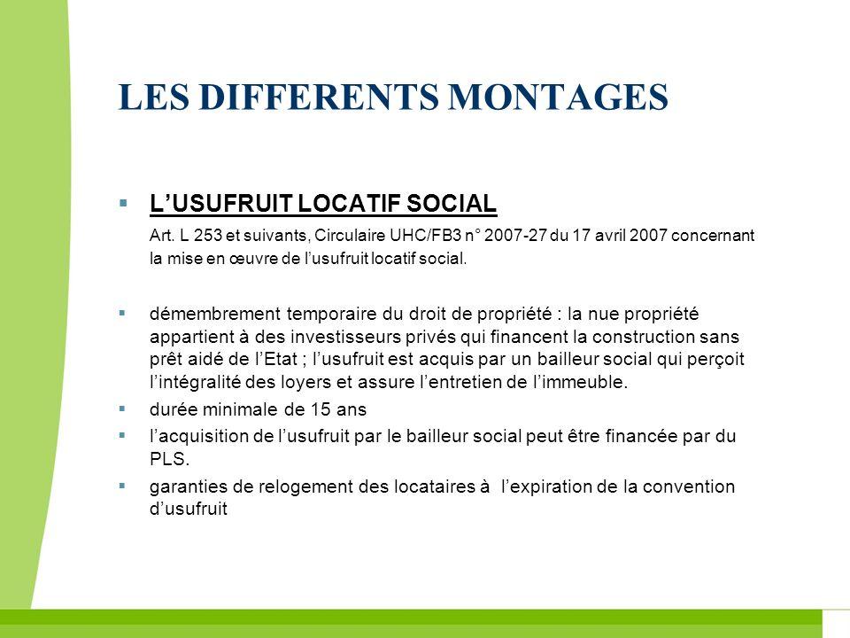 LES DIFFERENTS MONTAGES LUSUFRUIT LOCATIF SOCIAL Art. L 253 et suivants, Circulaire UHC/FB3 n° 2007-27 du 17 avril 2007 concernant la mise en œuvre de