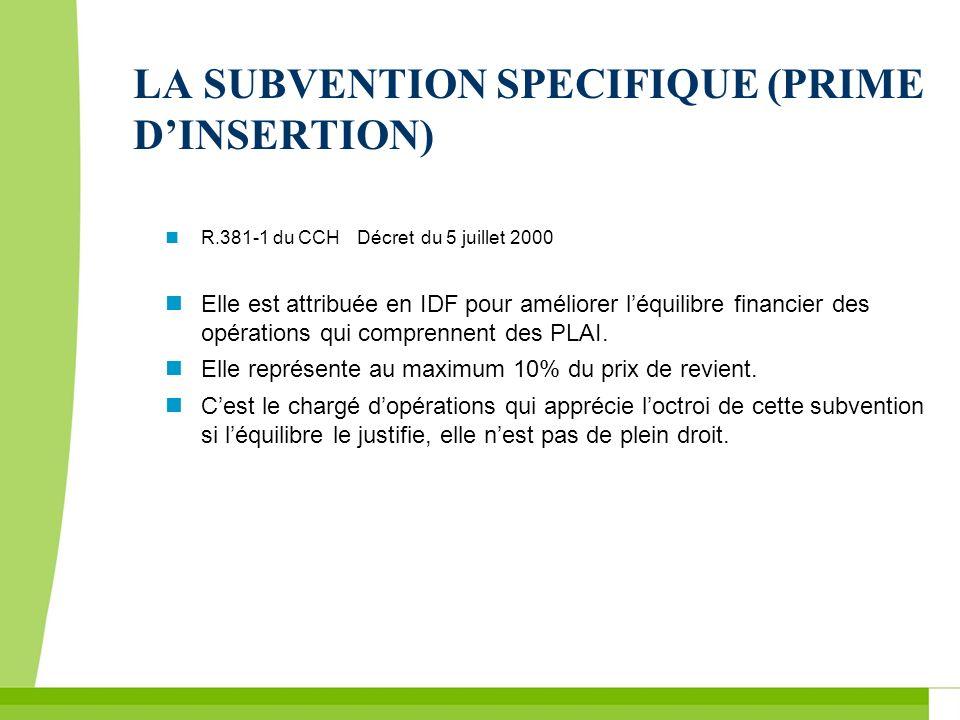 LA SUBVENTION SPECIFIQUE (PRIME DINSERTION) R.381-1 du CCHDécret du 5 juillet 2000 Elle est attribuée en IDF pour améliorer léquilibre financier des o